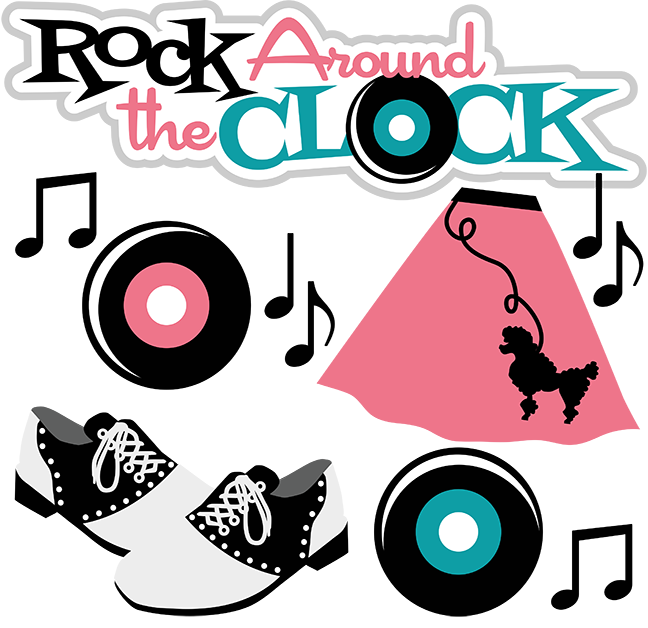 Rock around the clock. 50s clipart