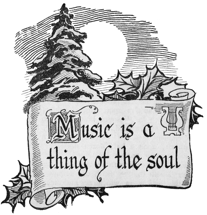 Christmas clip art with. Music clipart scroll