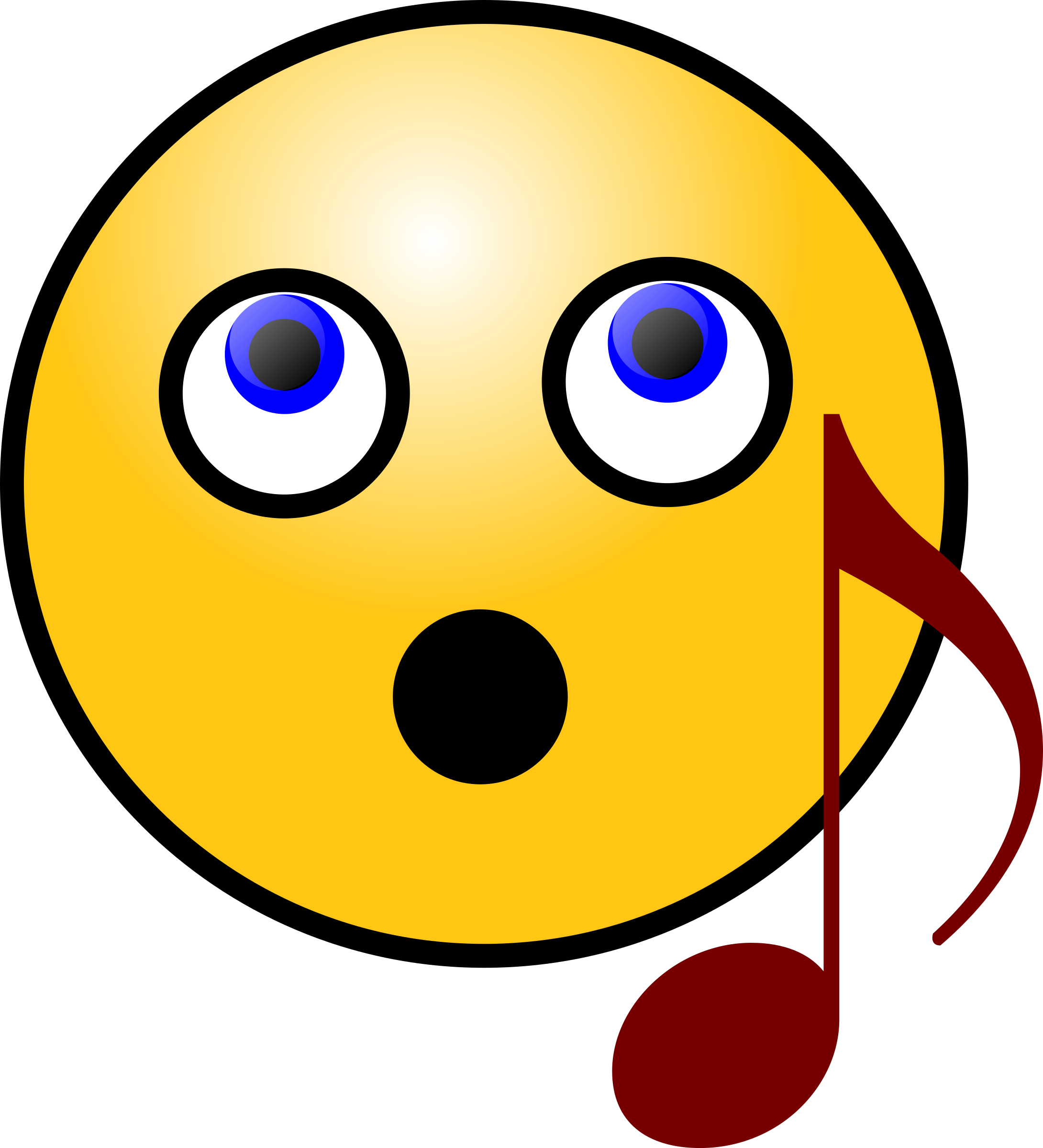 Singing smiley big image. Headphone clipart face