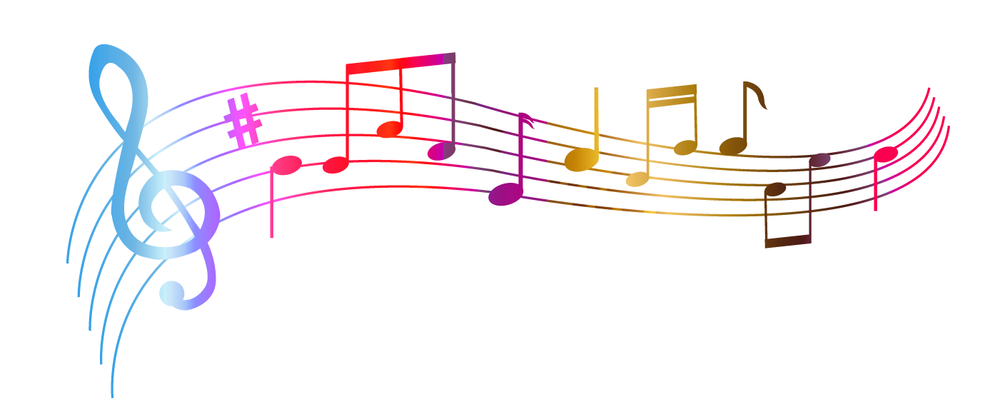 Transparent colorful notes png. Note clipart singing