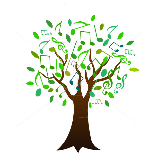 With notes free vectors. Tree clipart music