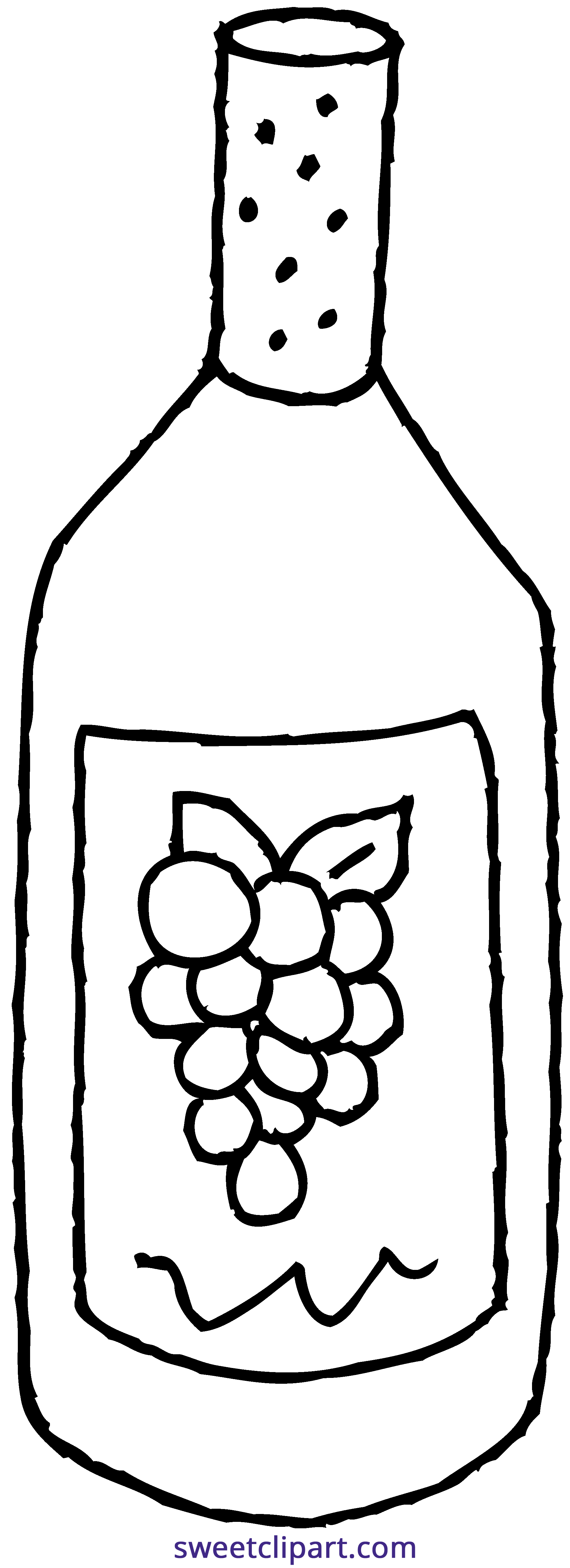 Wine Bottle Coloring Page Clipart