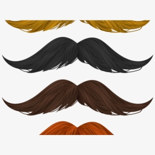 Mustache brown beard . Moustache clipart orange