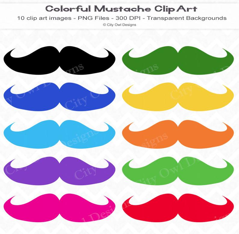 Clipart mustache colored. Colorful clip art mustaches