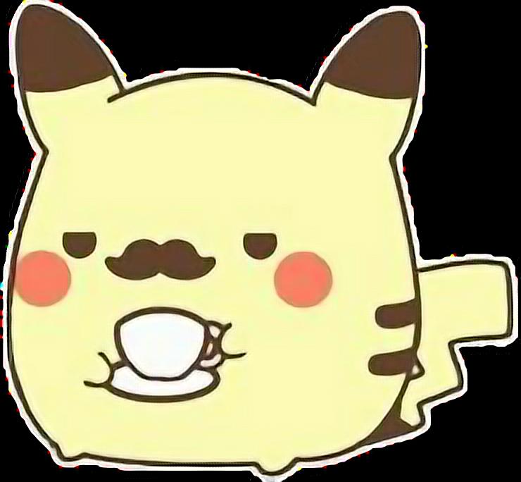 Clipart mustache cute. Pikachu kawaii pokemon coffeefreetoedit
