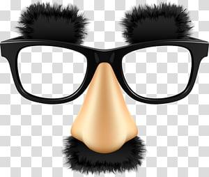 Black with nose art. Clipart mustache eyeglasses frame