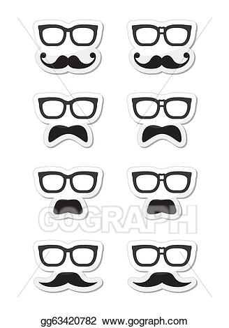 Clipart mustache geek glass. Vector art glasses and
