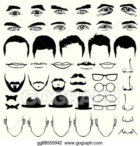 Clipart mustache glass eye. Eps vector man face