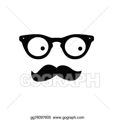 Vector illustration man with. Clipart mustache glass eye