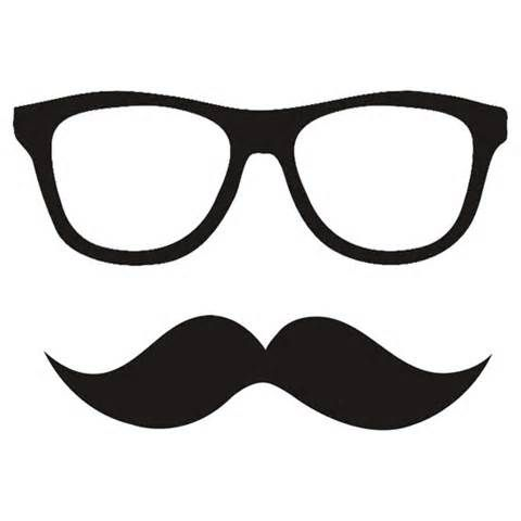 Hipster with glasses drawing. Moustache clipart optical frame