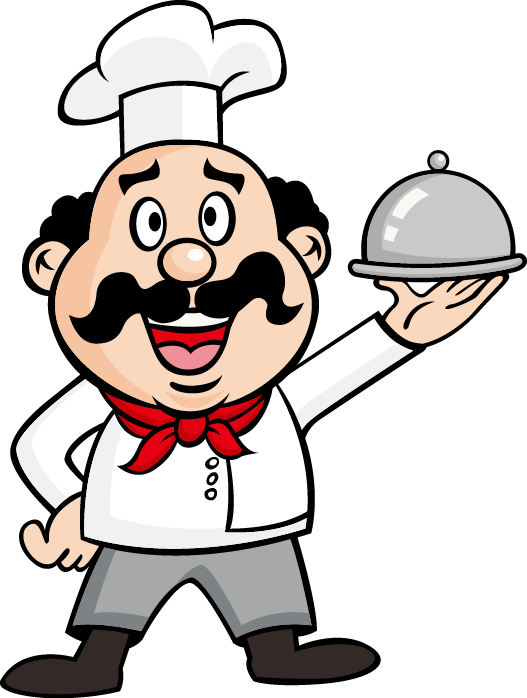 Cook drawing waiter illustration. Clipart mustache hand drawn
