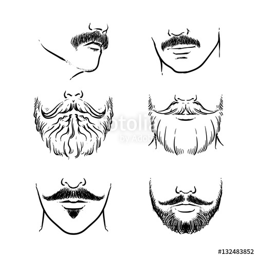 Clipart mustache hand drawn. Beards outline hipster vector