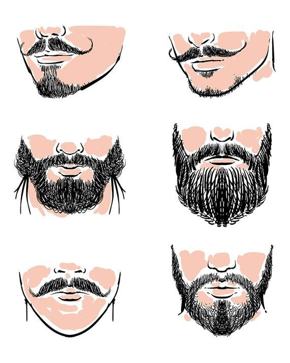 Vector set of hipster. Clipart mustache hand drawn