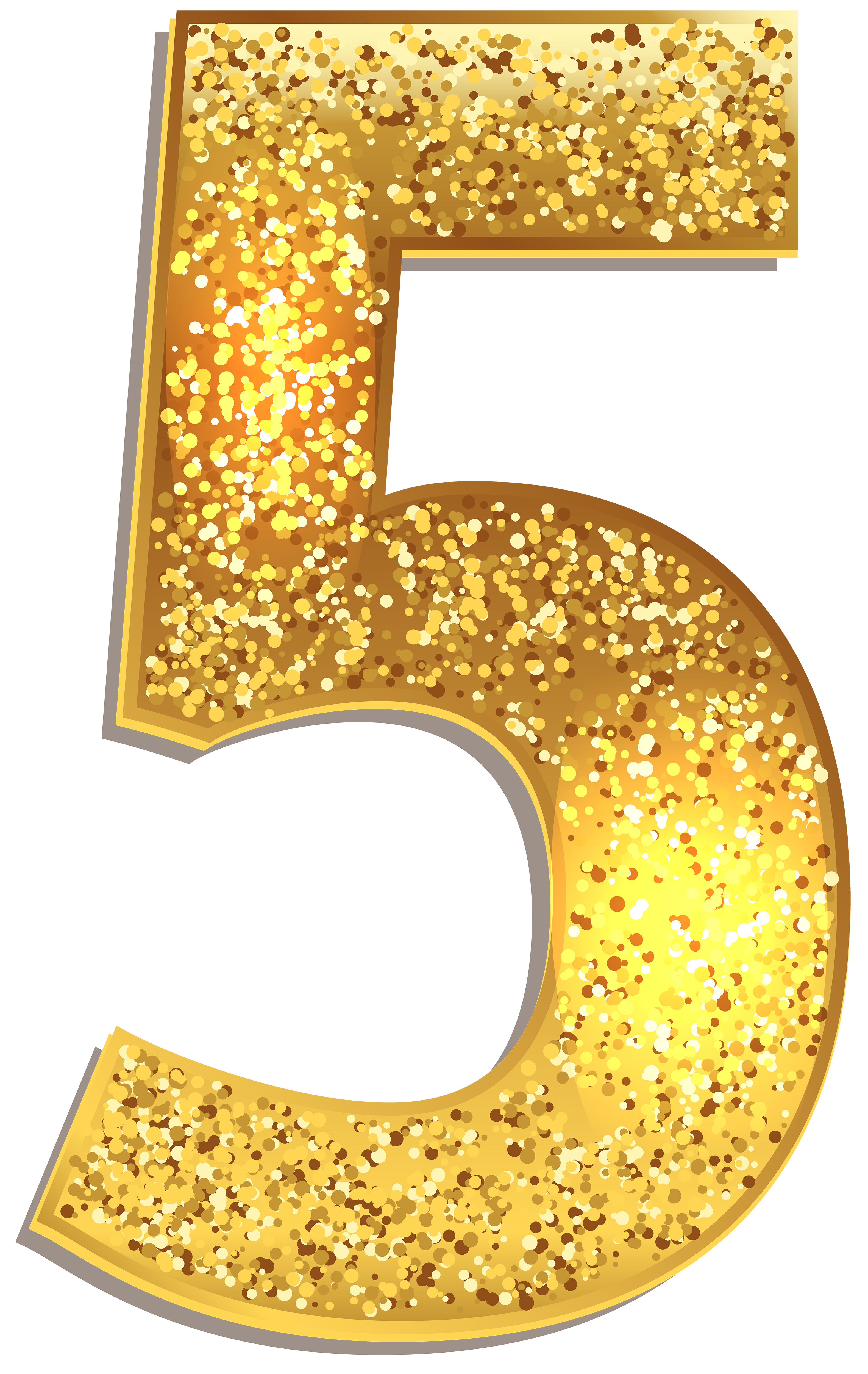 Number 1 clipart numeral. Five gold shining png
