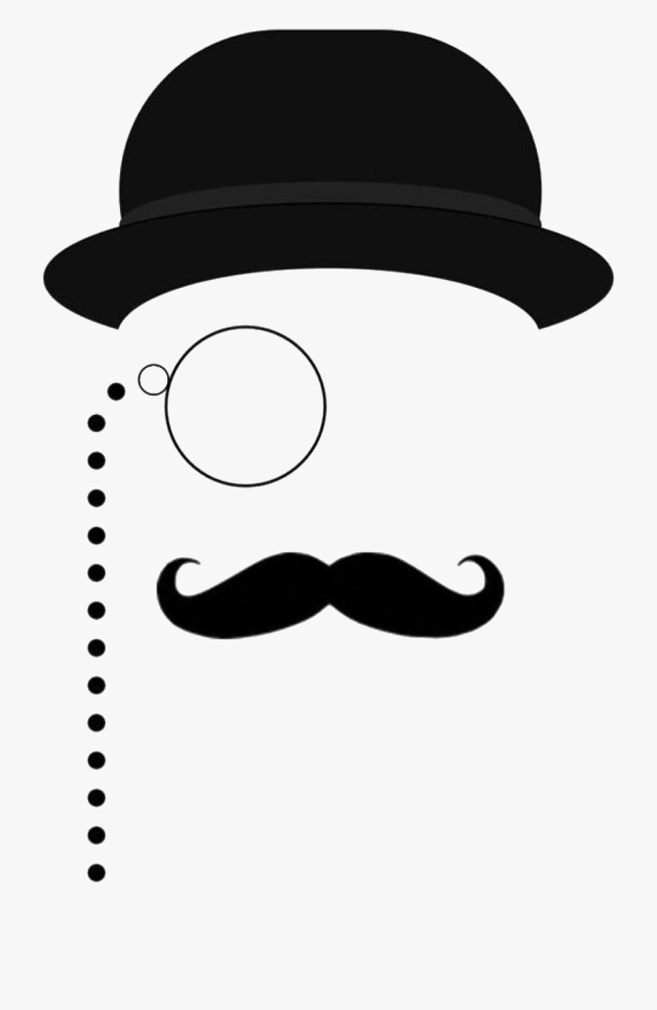 Silhouette man cliparts . Mustache clipart bowler hat
