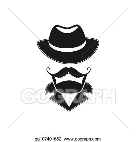 Mustache clipart man's hat. Vector stock bearded man
