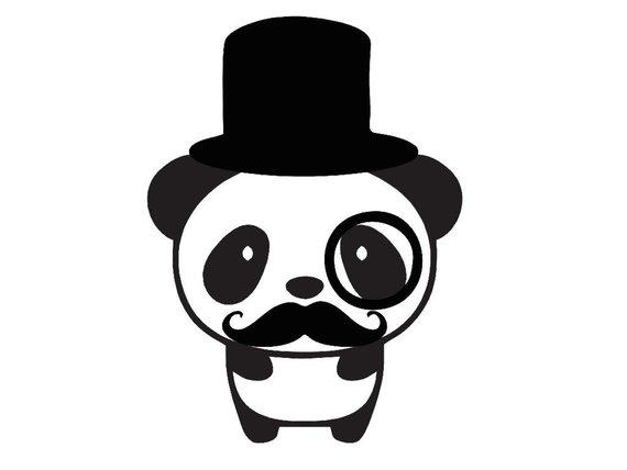 Clipart mustache panda. Vinyl decal tophat monocle