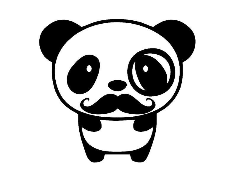 Monocle moustache custom vinyl. Clipart mustache panda