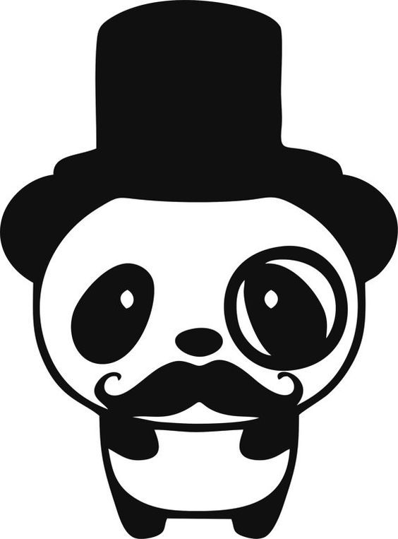 Clipart mustache panda. Cute tophat monocle and