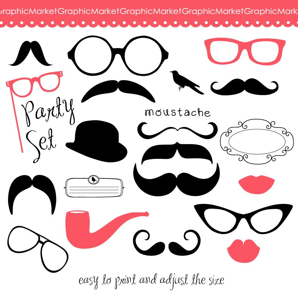 Kiss clipart props. Mustache spectacles and lips