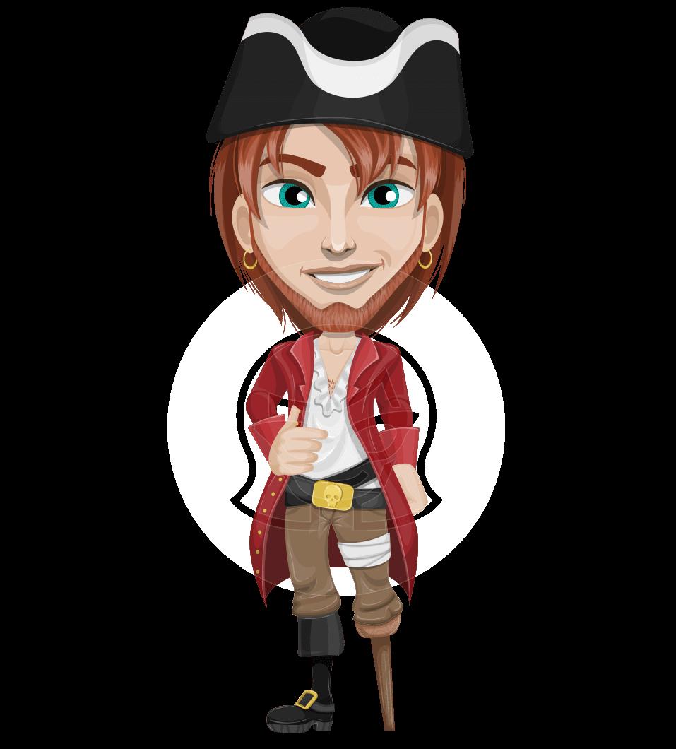 Clipart mustache pirate. Vector with pegleg cartoon
