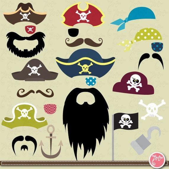 Clipart mustache pirate. Clip art set party