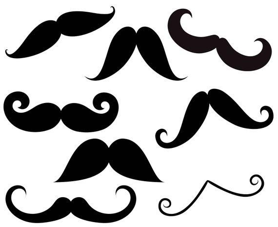 Clipart mustache printable. Silhouette colorful