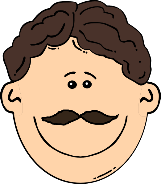 Father clipart brown hair. Smiling man with mustache