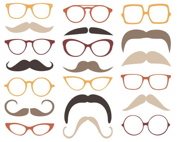 Moustache clipart spectacle frame. Vintage mustache and glasses