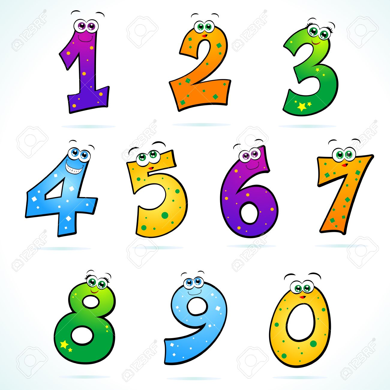 Funny numbers . 1 clipart cartoon
