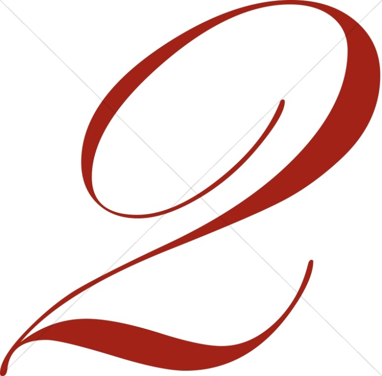 2 clipart numeral. Number red