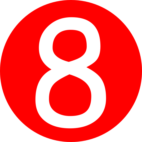 Number 1 clipart number 8. Red rounded with clip