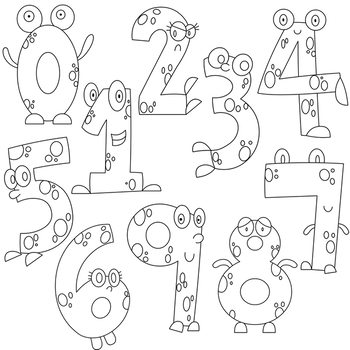 Monster . Numbers clipart black and white