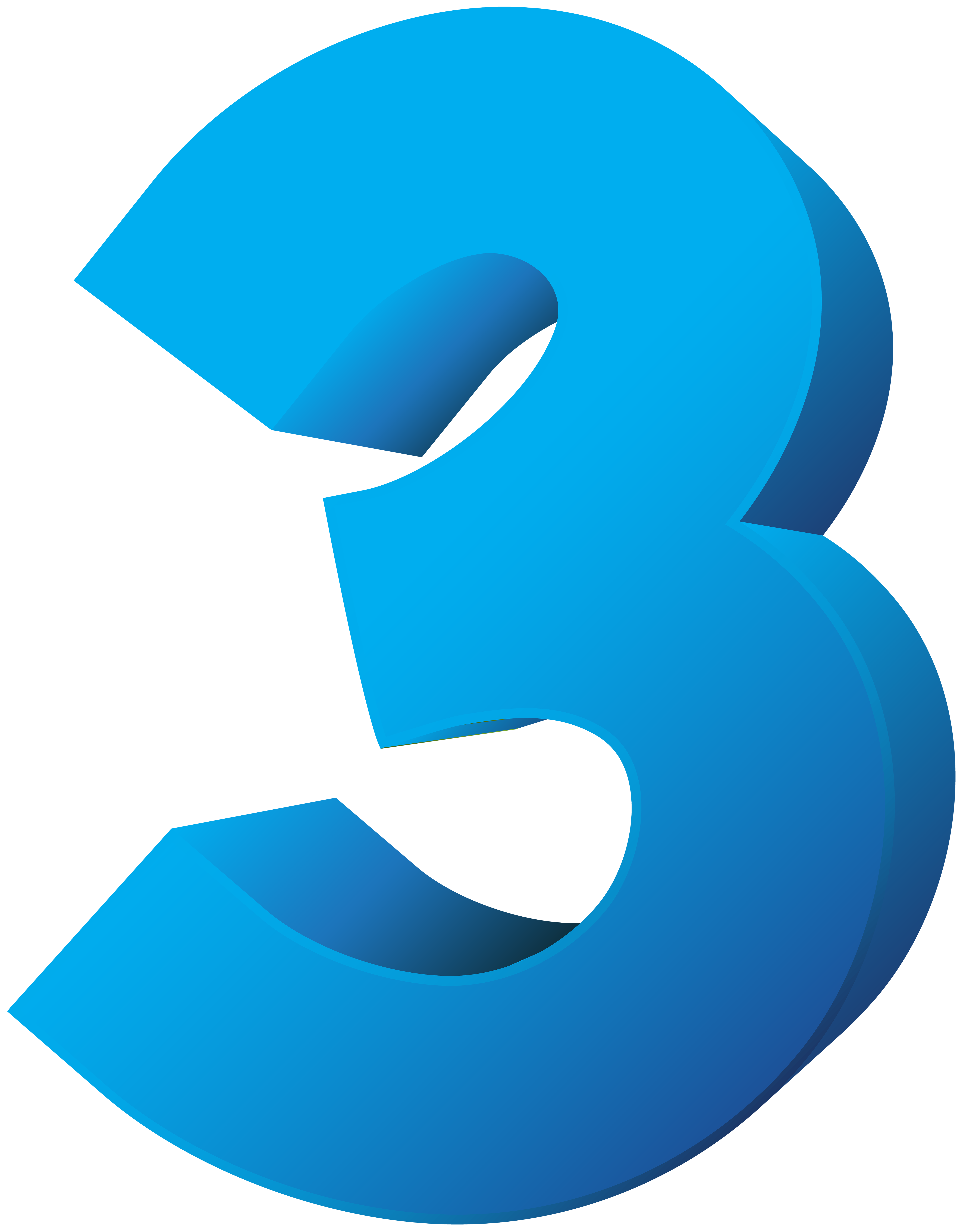 Three transparent png clip. Number clipart blue