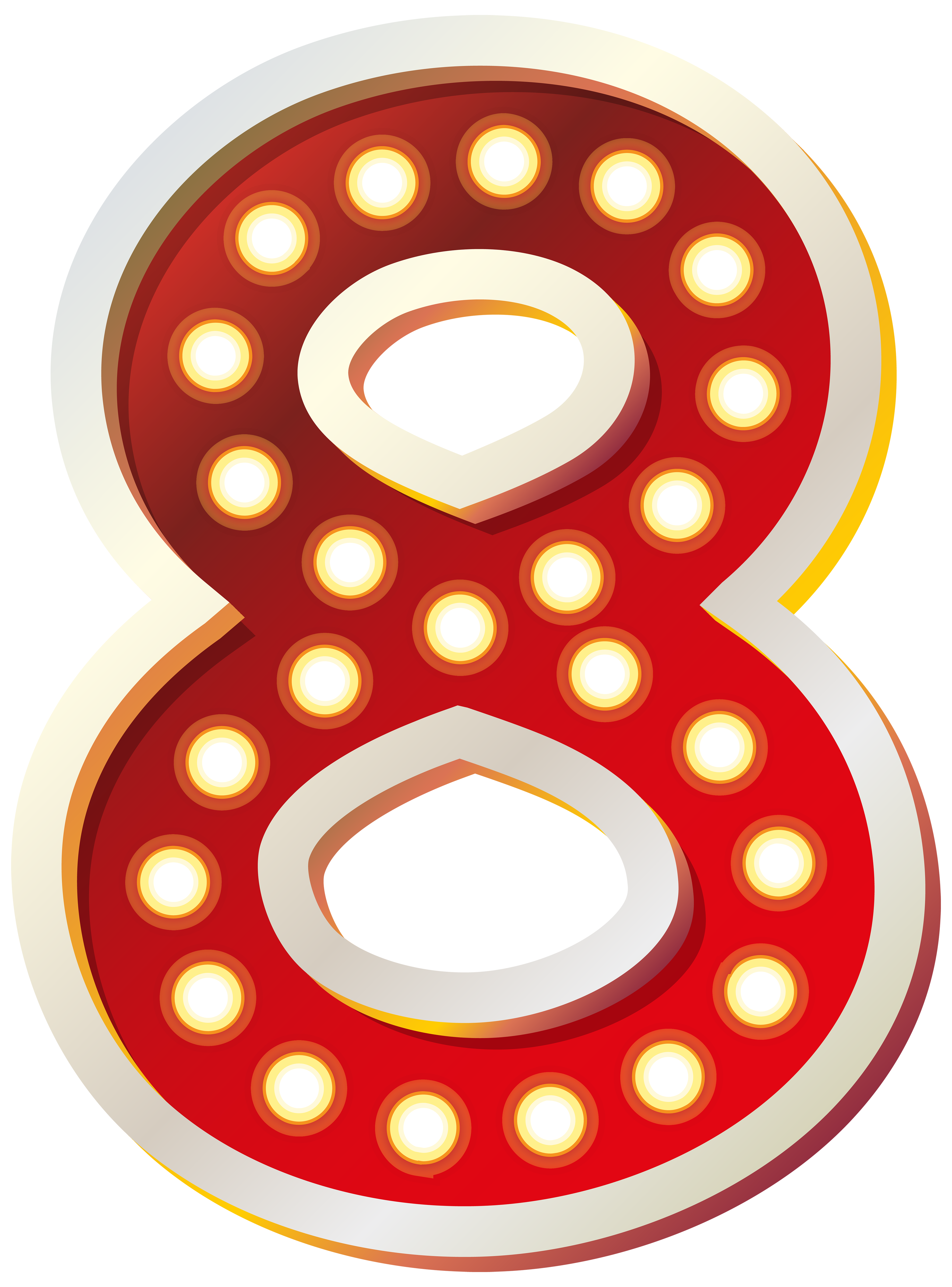 Number 2 clipart orange. Red eight with lights