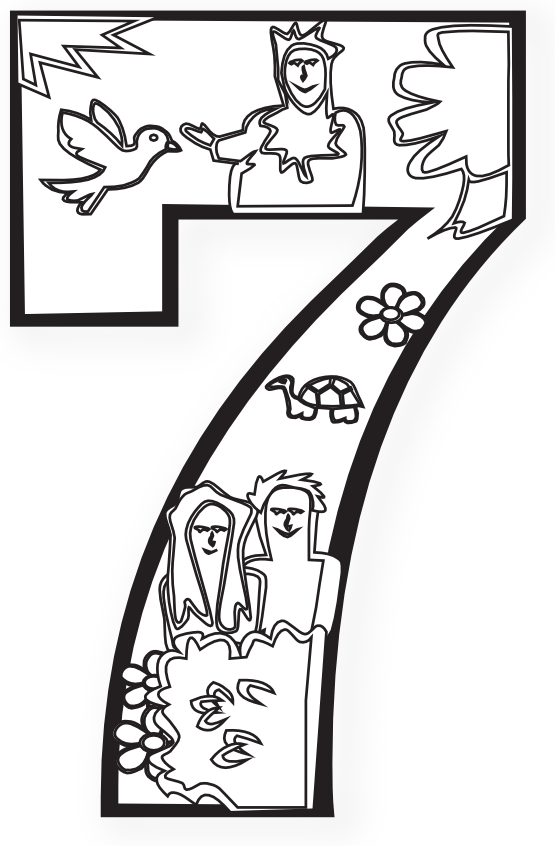 Days numbers coloring book. Creation clipart god plan