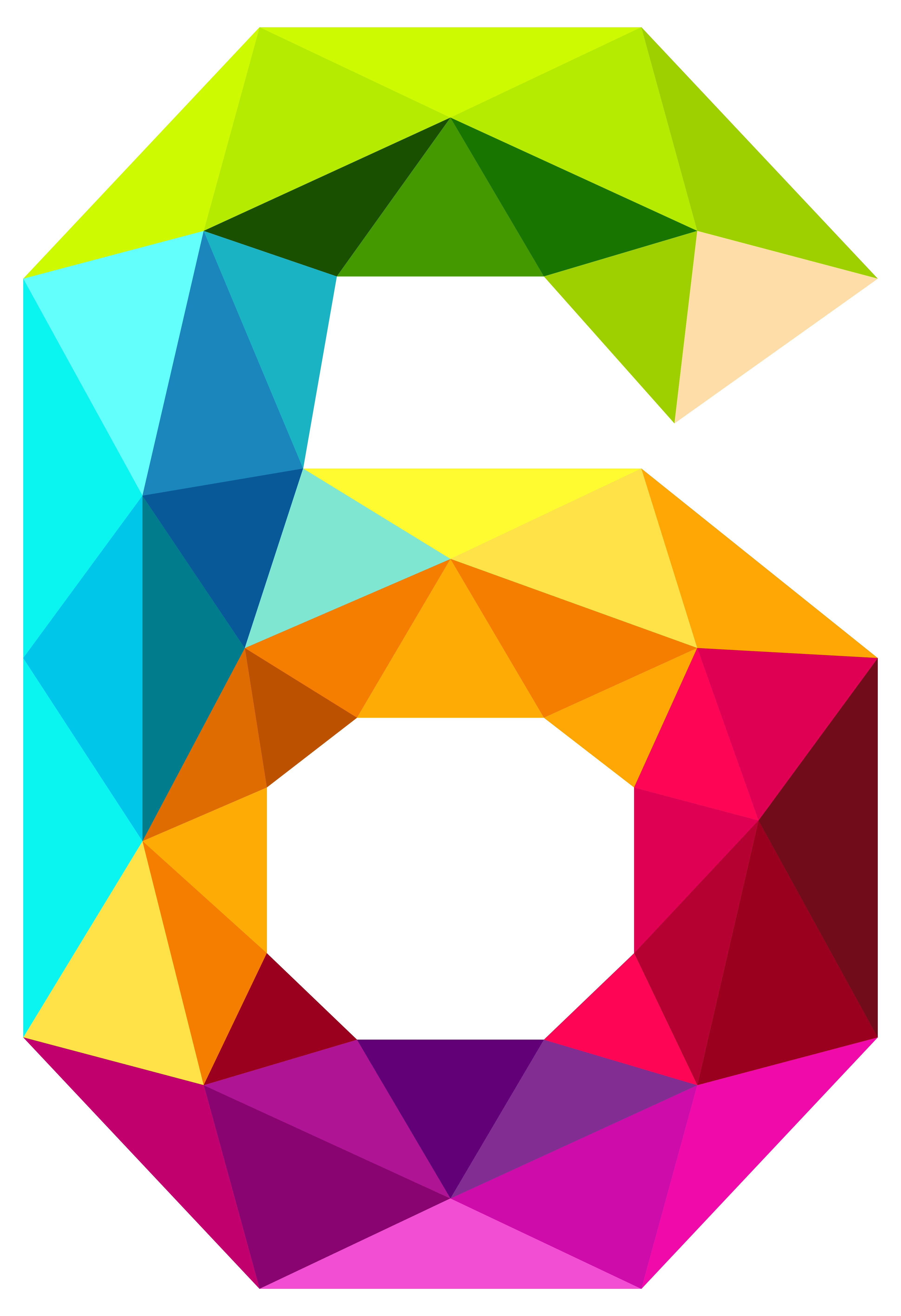 Clip art colourful triangles. Number 6 clipart numerical number