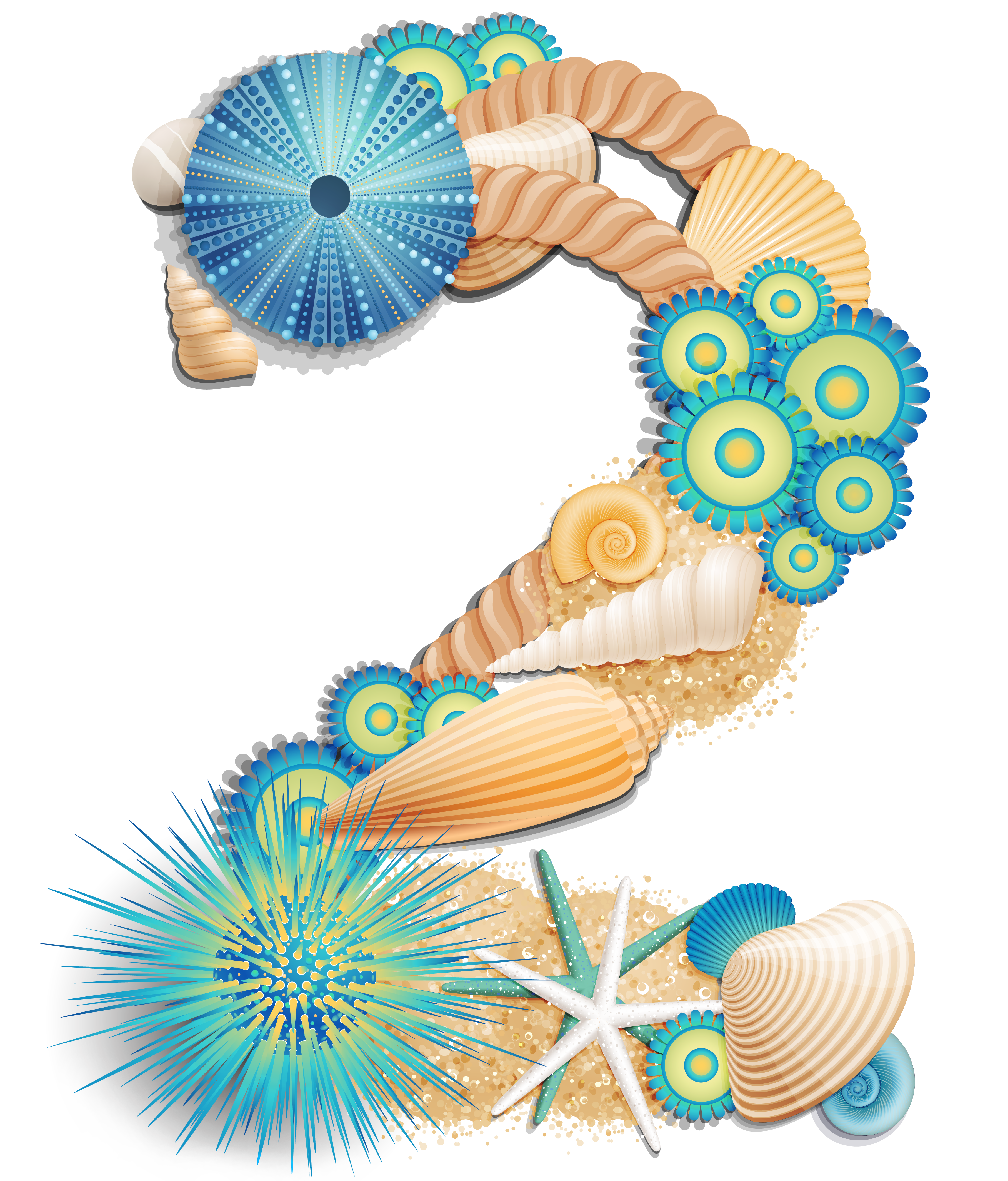 Transparent two sea style. Number clipart decorative