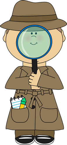 With magnifying glass clip. Detective clipart group