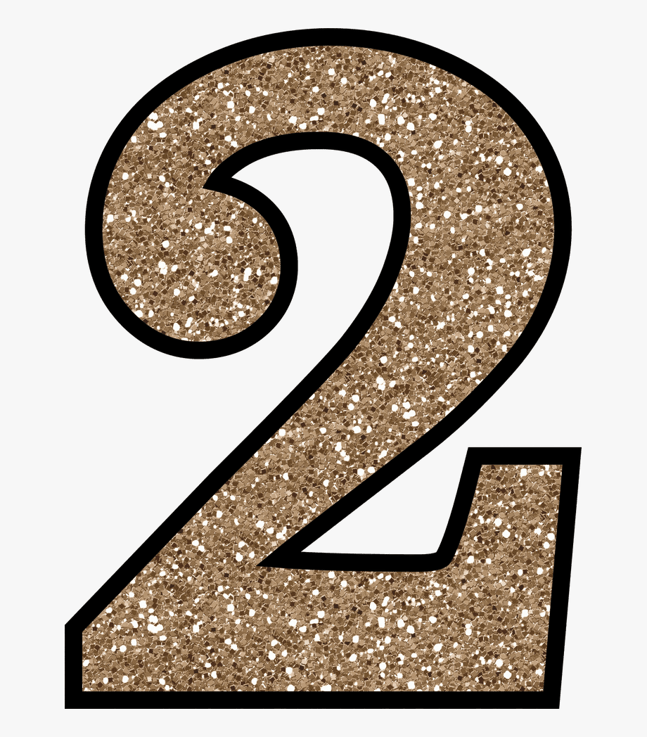 Numbers glitter free . Number 2 clipart glittery