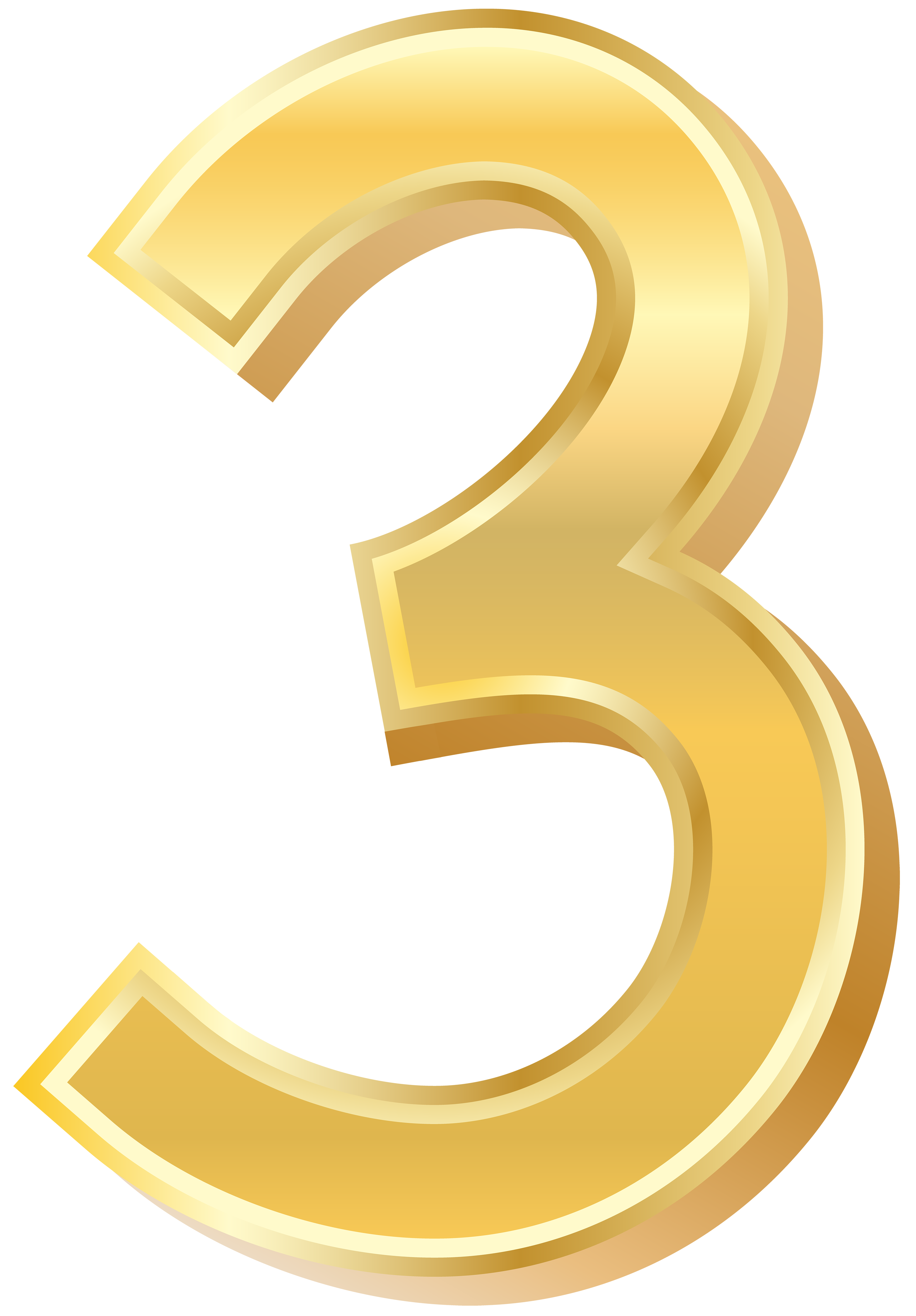Gold style three png. Number 3 clipart golden