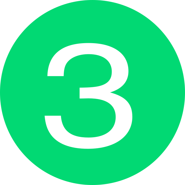 Button green clip art. Number 3 clipart small