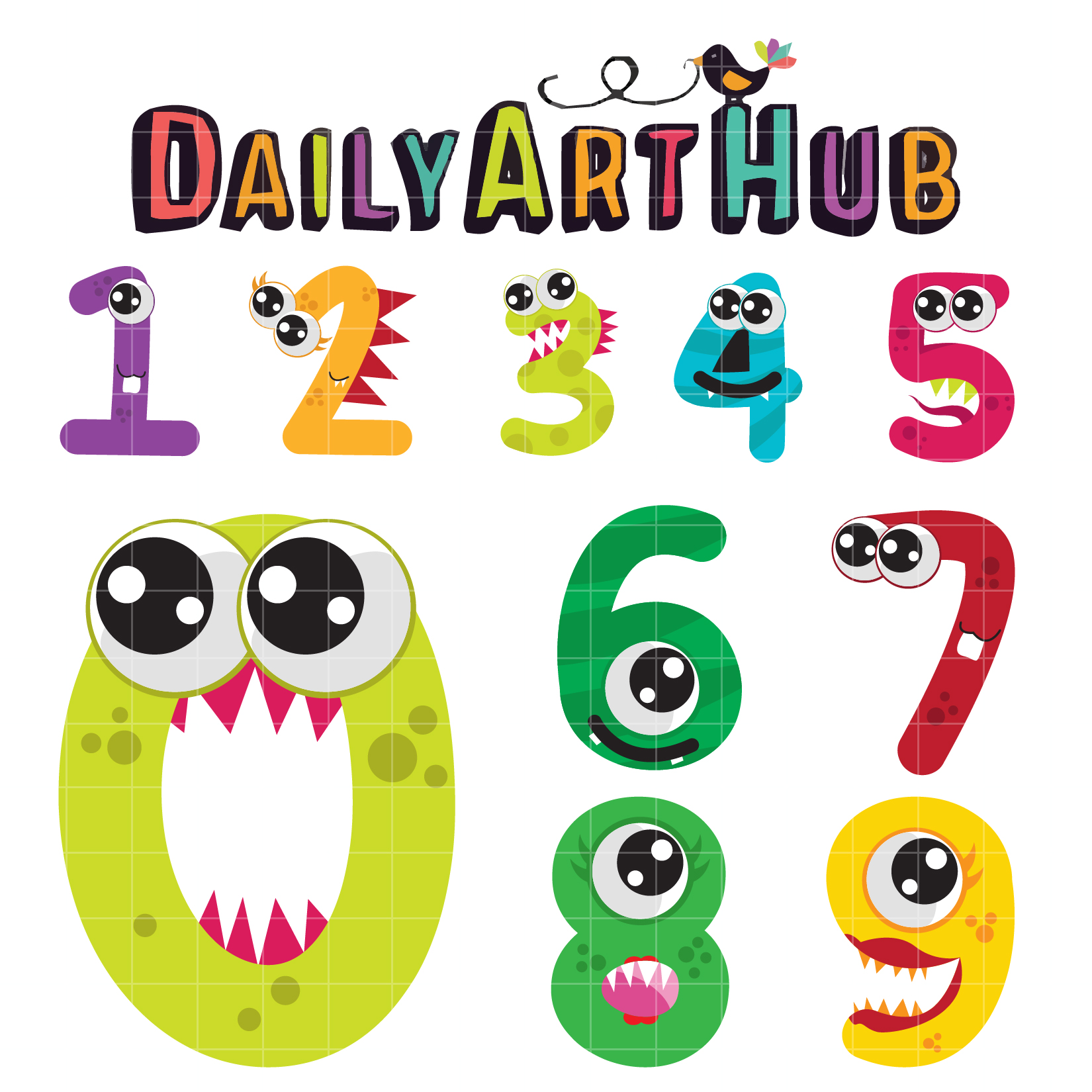 Cute clip art set. Numbers clipart monster