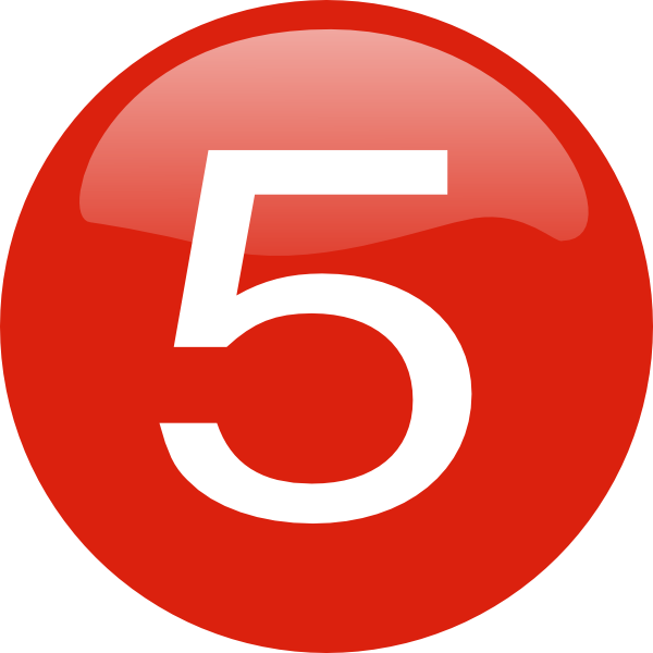 Number 2 clipart button. Five red pencil and