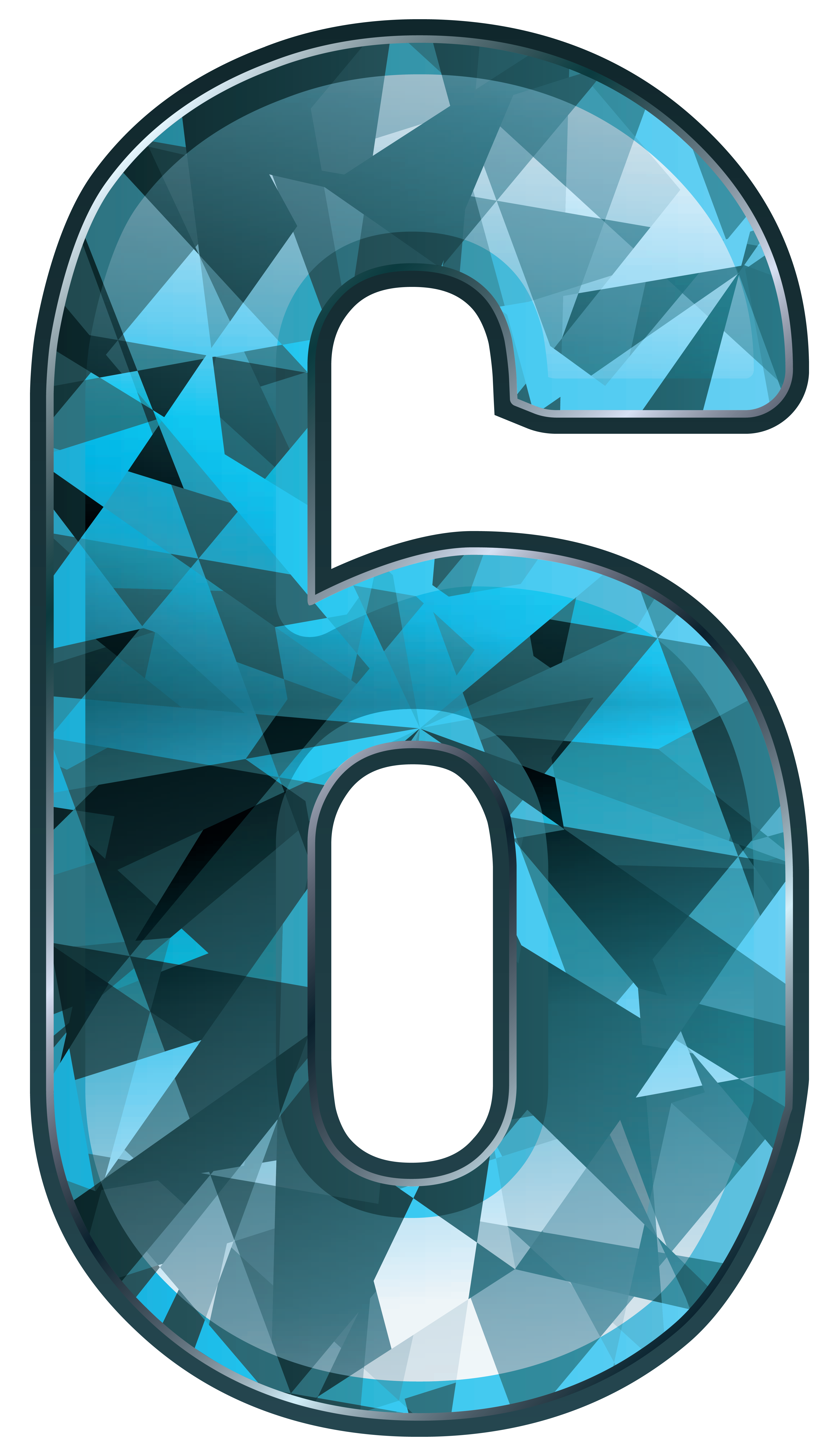 Number clipart blue. Crystal six png image