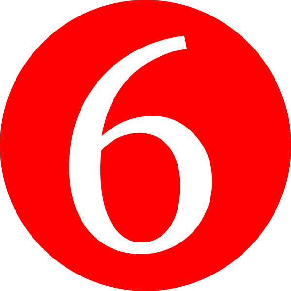 Red rounded with clip. Number 4 clipart six