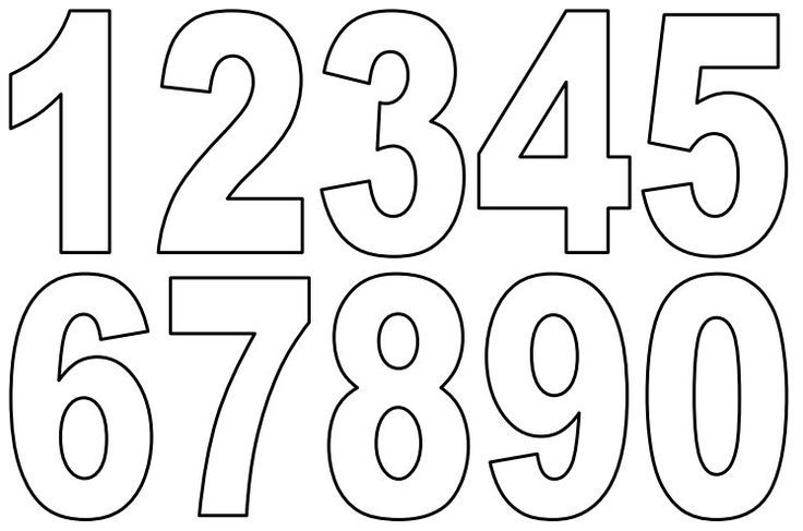 Clipart numbers template. Small printable pdf coloring