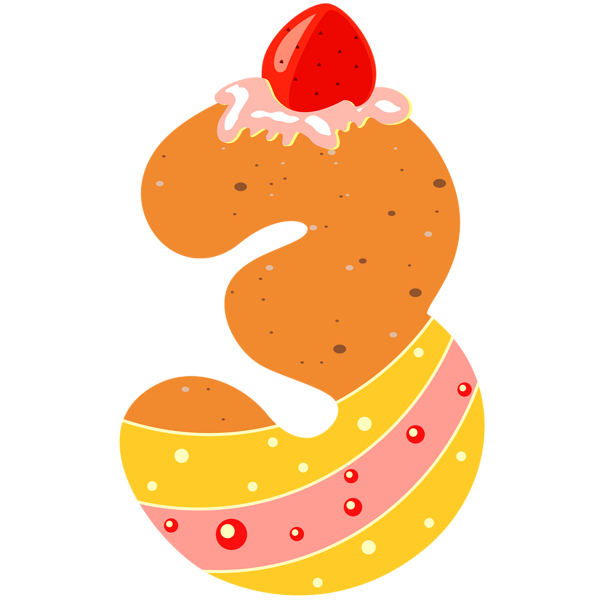 Sweet number png image. Clipart numbers three