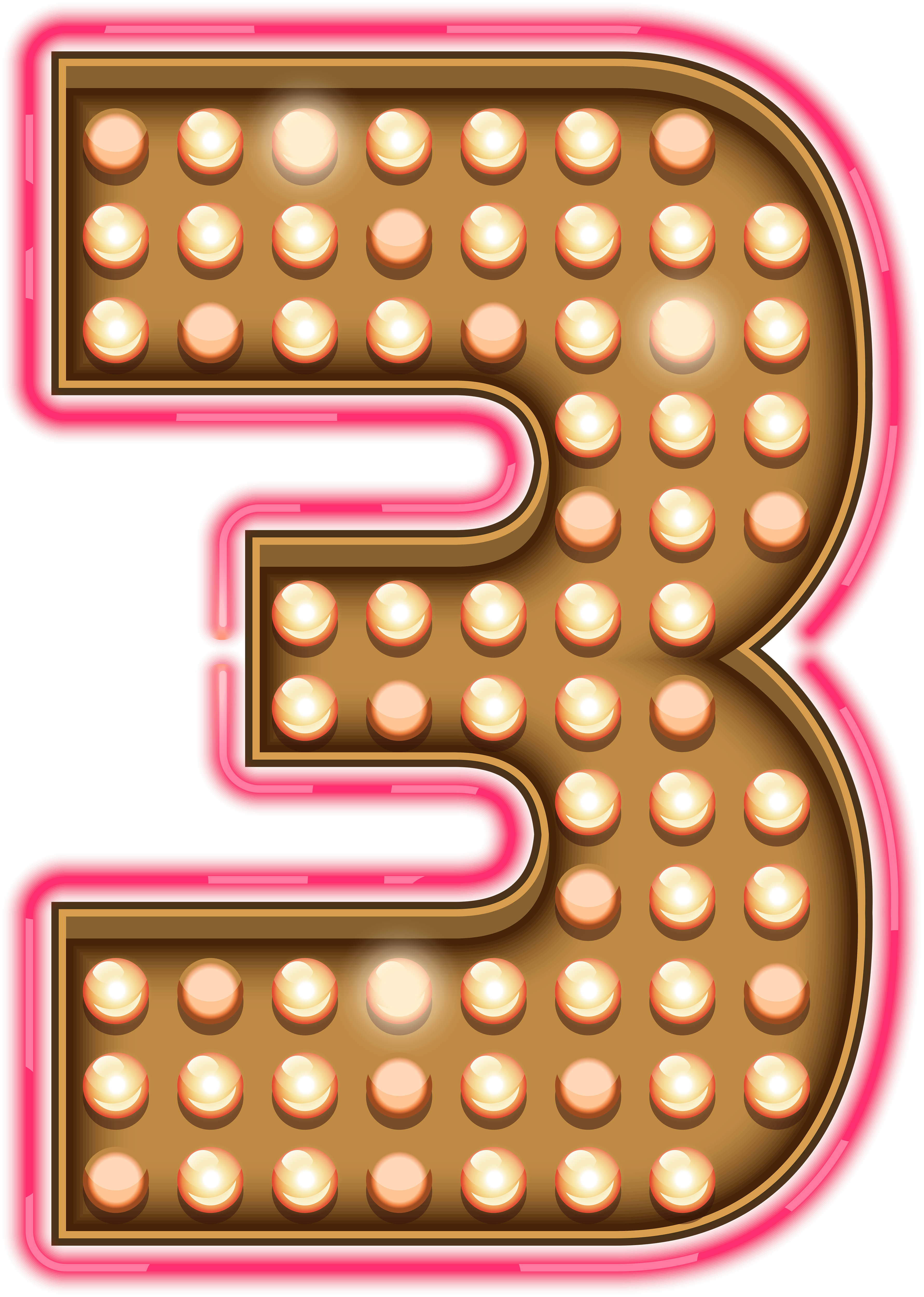 Clipart numbers three. Number neon lights transparent
