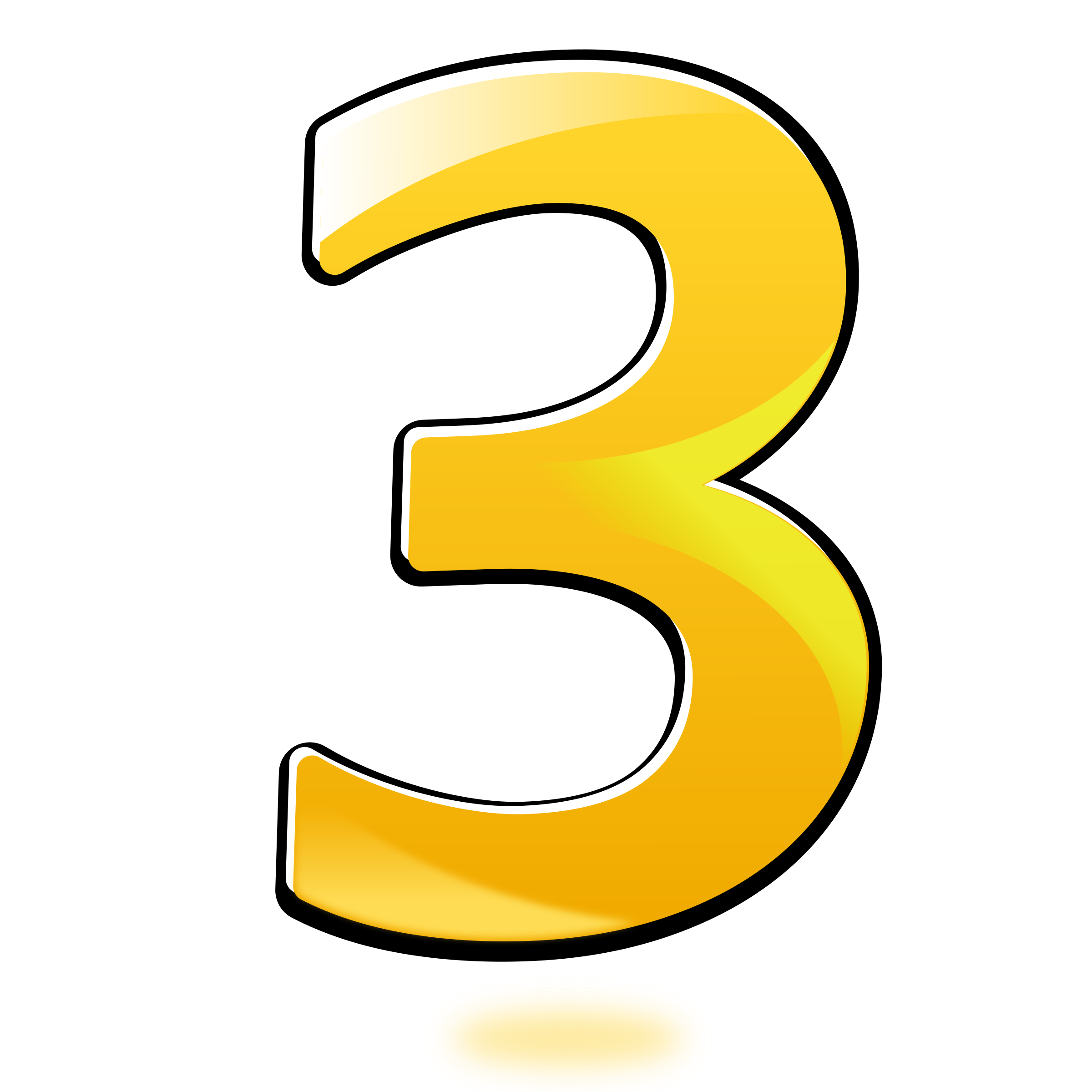 Clipart numbers three. Glossy number big image